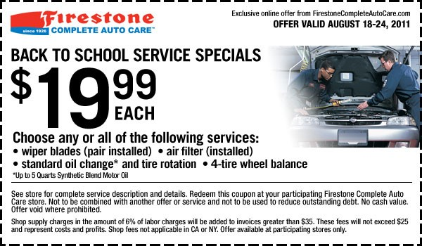 Firestone oil change coupons october 2018